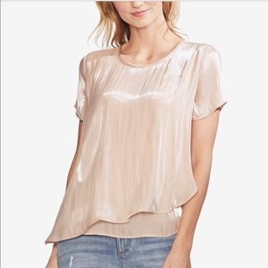 Vince Camuto shimmering short sleeves overlay top